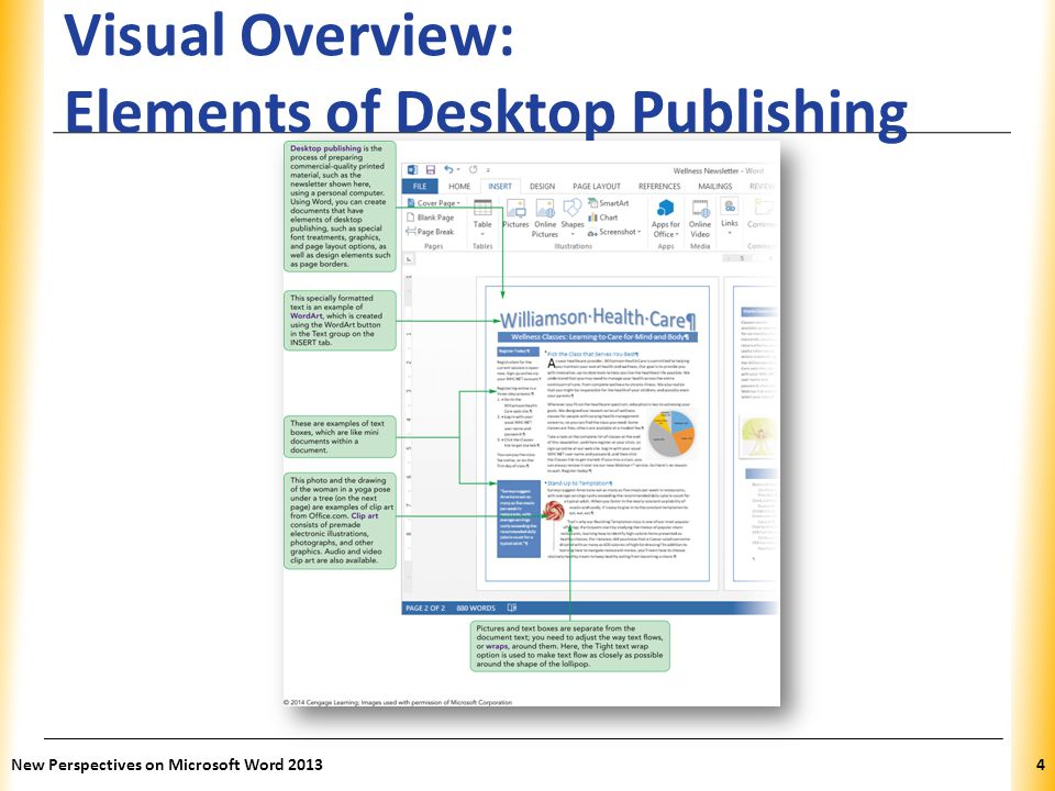 XP Visual Overview: Elements of Desktop Publishing New Perspectives on Microsoft Word 20135