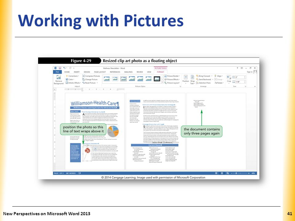 XP Working with Pictures New Perspectives on Microsoft Word 201341