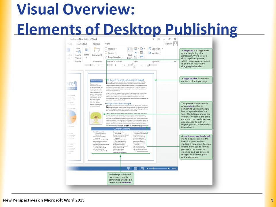 XP Using Continuous Section Breaks to Enhance Page Layout Continuous section breaks start a new section without starting a new page Sections allow you to apply different page layout settings to different parts of a page New Perspectives on Microsoft Word 20136