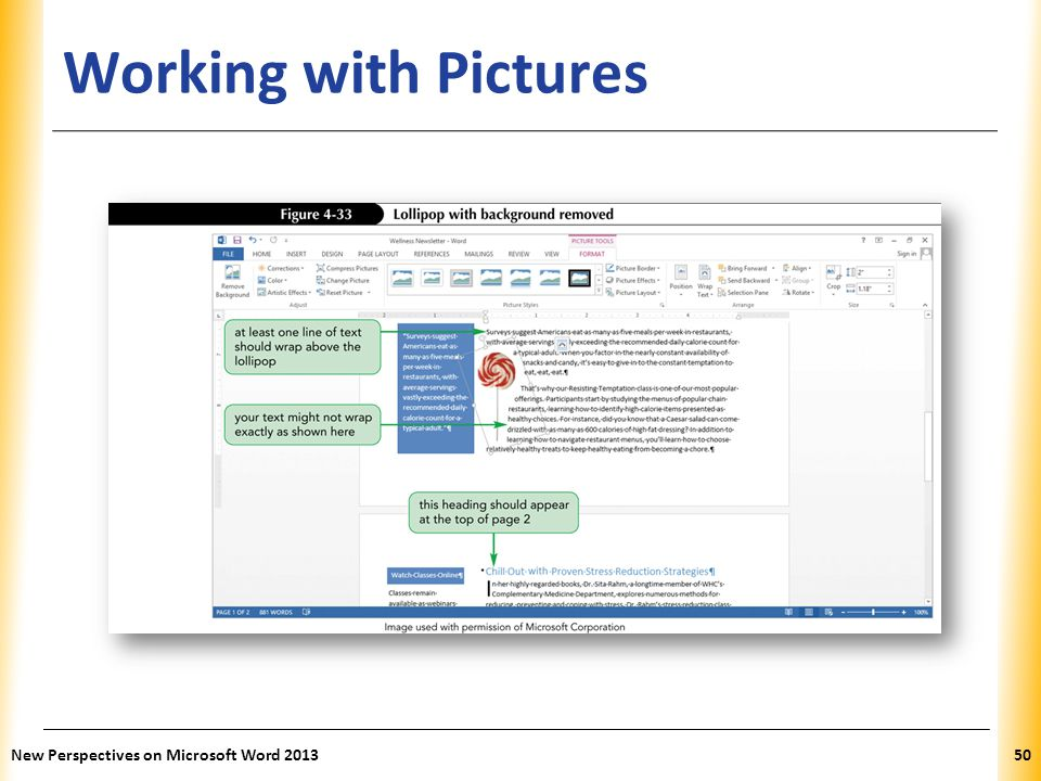 XP Working with Pictures New Perspectives on Microsoft Word 201350