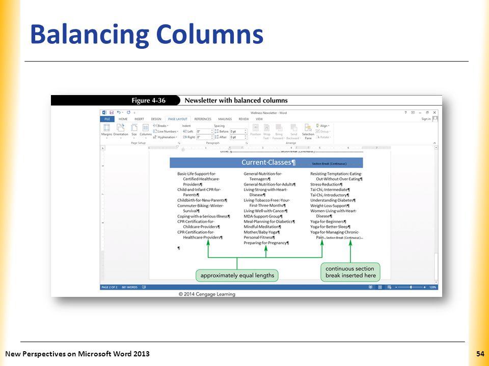 XP Balancing Columns New Perspectives on Microsoft Word 201354