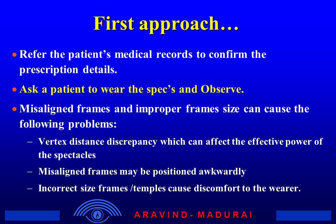A R A V I N D - M A D U R A I First approach…  Refer the patient's medical records to confirm the prescription details.
