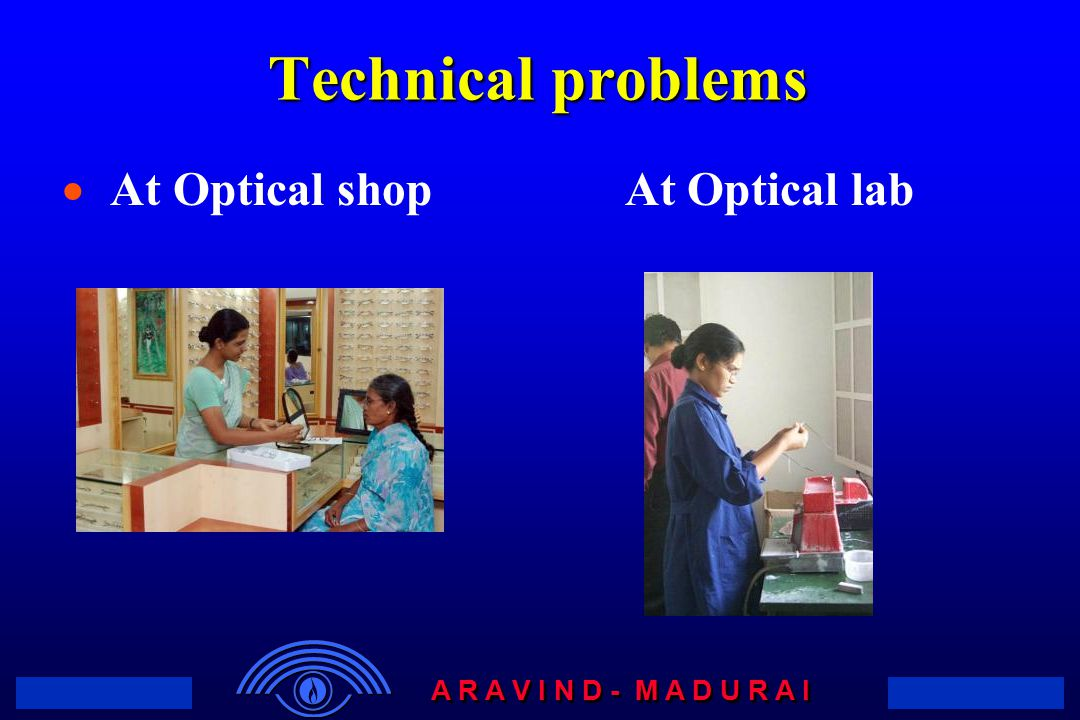A R A V I N D - M A D U R A I Technical problems  At Optical shop At Optical lab