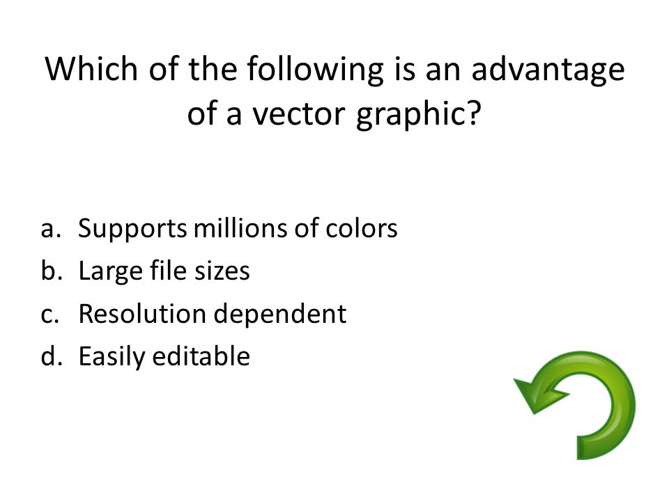Which of the following is an advantage of a vector graphic? a.Supports millions of colors b.Large file sizes c.Resolution dependent d.Easily editable