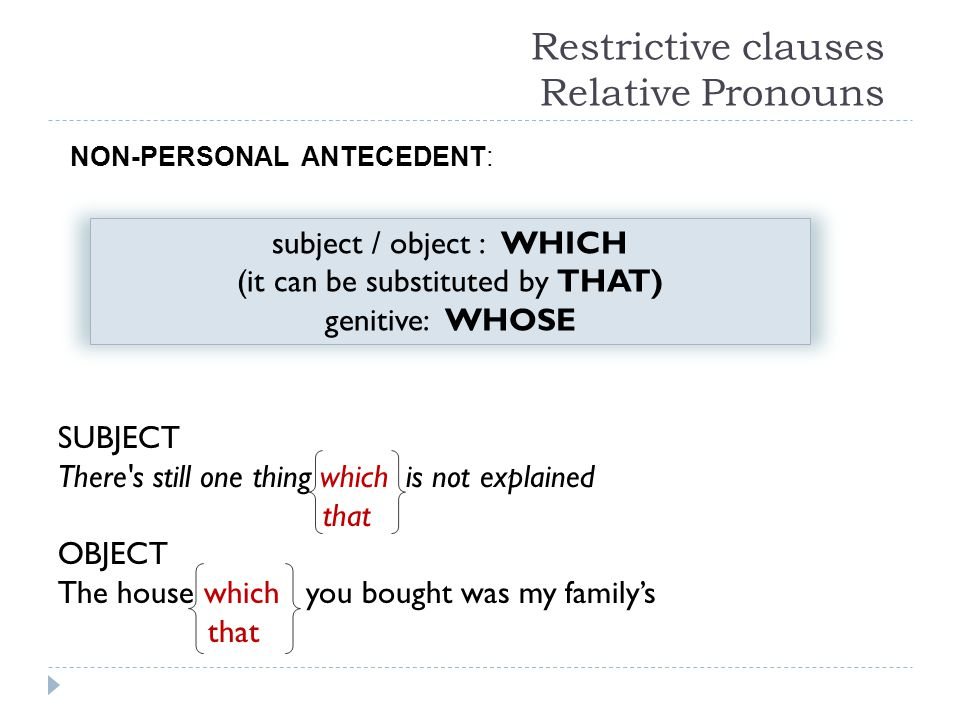 Restrictive clauses Relative Pronouns SUBJECT There's still one thing which is not explained that OBJECT The house which you bought was my family's th