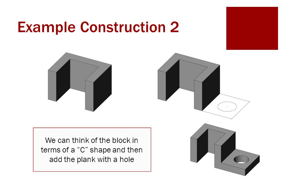 """Example Construction 2 We can think of the block in terms of a """"C"""" shape and then add the plank with a hole"""
