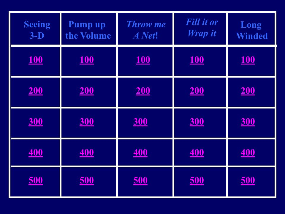 Seeing 3-D Pump up the Volume Throw me A Net! Fill it or Wrap it Long Winded 100 200 300 400 500