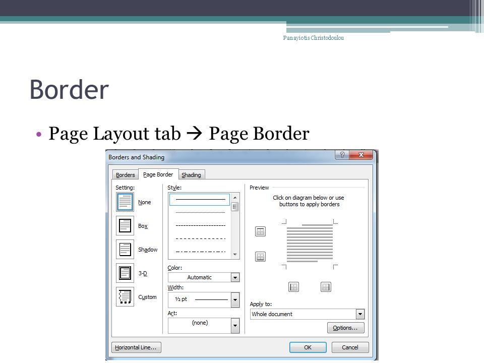Border Page Layout tab  Page Border Panayiotis Christodoulou