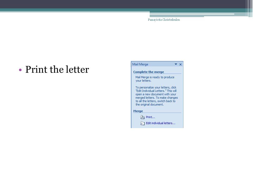Print the letter Panayiotis Christodoulou