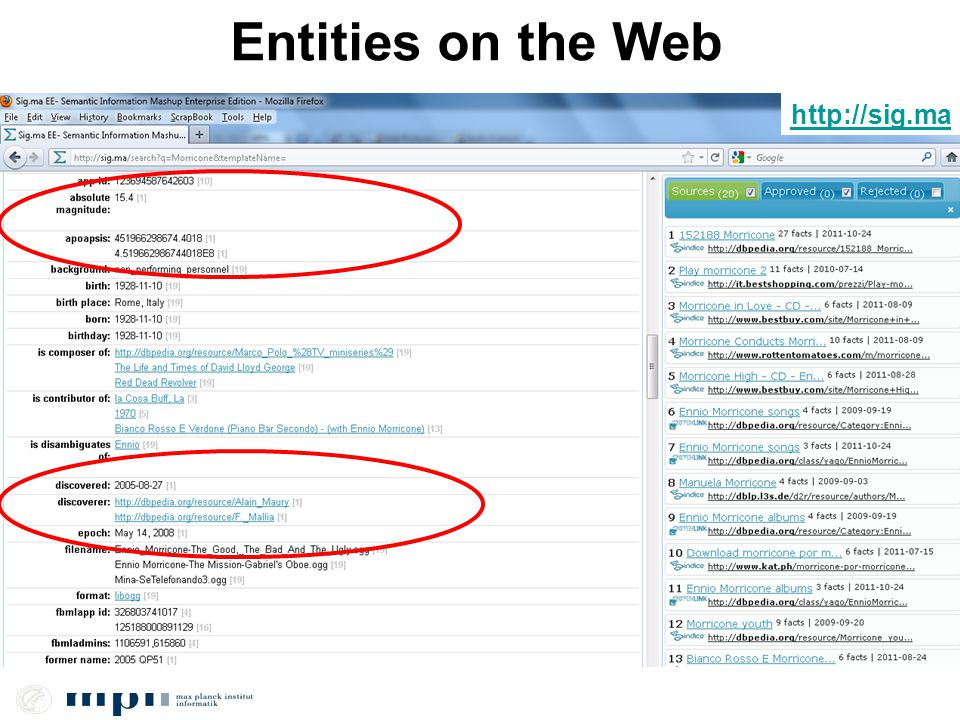 Entities on the Web http://sig.ma