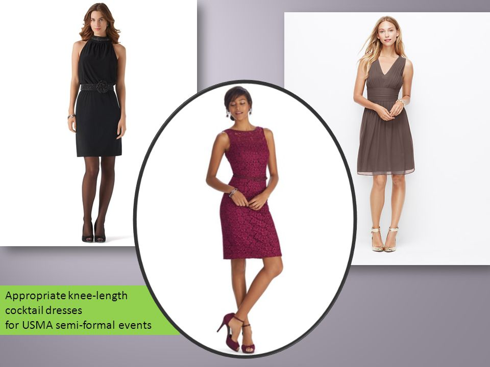 Appropriate knee-length cocktail dresses for USMA semi-formal events