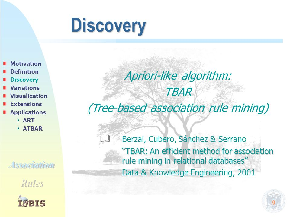"9 Discovery Apriori-like algorithm: TBAR (Tree-based association rule mining)  Berzal, Cubero, Sánchez & Serrano ""TBAR: An efficient method for assoc"