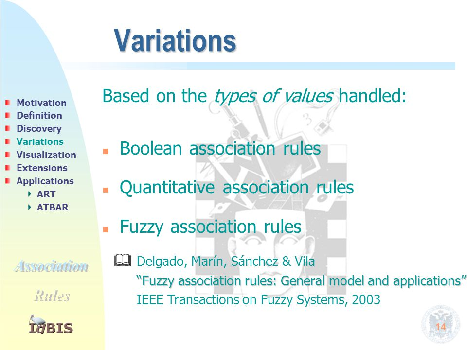 14 Variations Based on the types of values handled: n n Boolean association rules n n Quantitative association rules n n Fuzzy association rules  Del