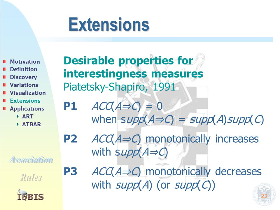 23 Extensions Desirable properties for interestingness measures Piatetsky-Shapiro, 1991 P1ACC(A ⇒ C) = 0 when supp(A ⇒ C) = supp(A)supp(C) P2 ACC(A ⇒