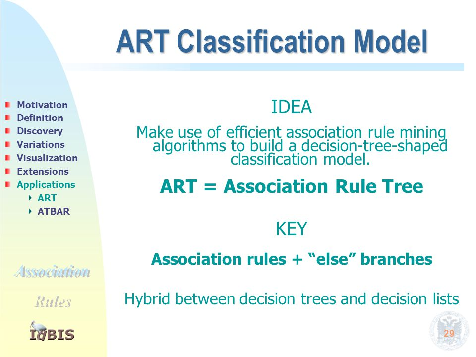 29 ART Classification Model IDEA Make use of efficient association rule mining algorithms to build a decision-tree-shaped classification model. ART =