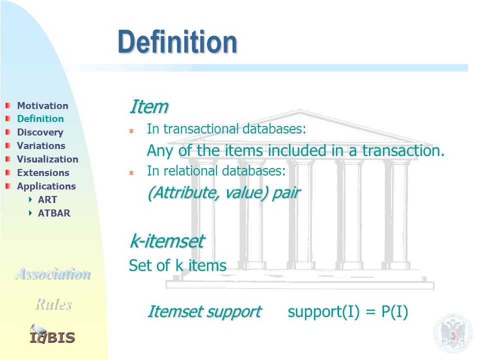 3 Definition Item n n In transactional databases: Any of the items included in a transaction. n n In relational databases: (Attribute, value) pair k-i