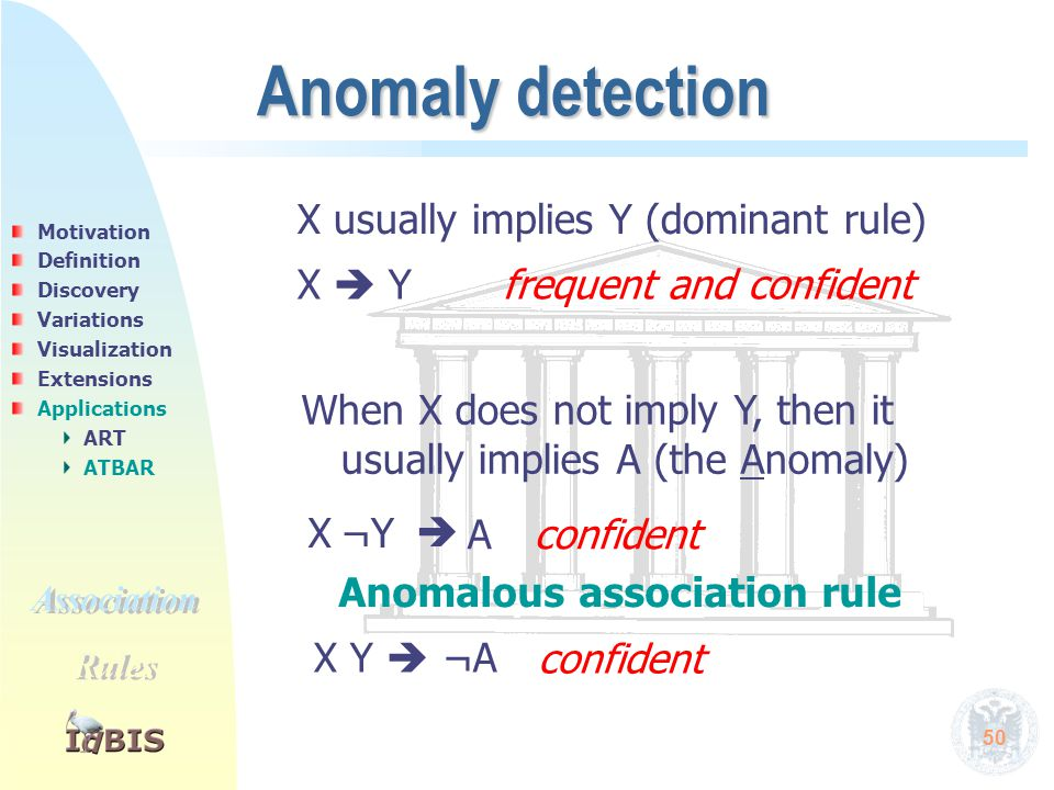 50 Anomaly detection X¬Y confident X  Y frequent and confident X usually implies Y (dominant rule) When X does not imply Y, then it usually implies A