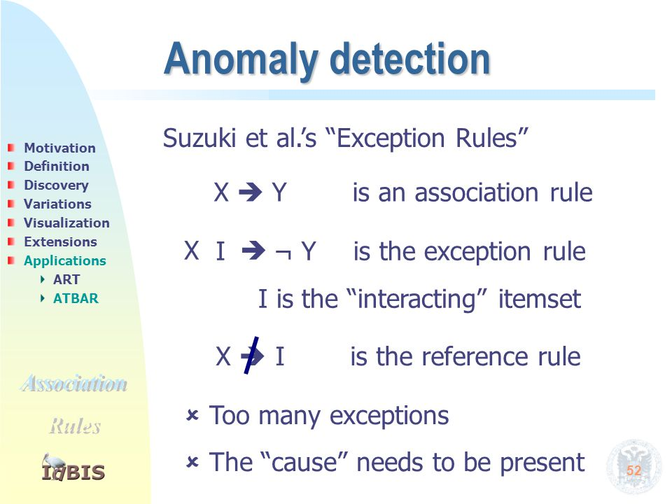 "52 Anomaly detection Suzuki et al.'s ""Exception Rules"" X  Y is an association rule X  I X  I is the reference rule is the exception rule¬ Y I is th"