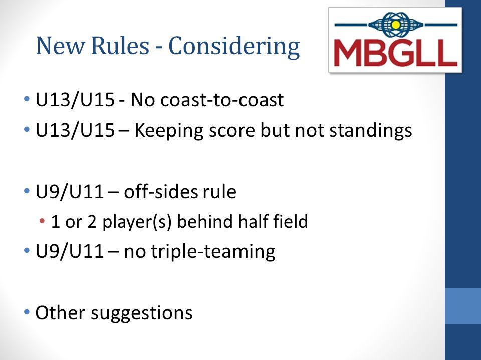 New Rules - Considering U13/U15 - No coast-to-coast U13/U15 – Keeping score but not standings U9/U11 – off-sides rule 1 or 2 player(s) behind half field U9/U11 – no triple-teaming Other suggestions
