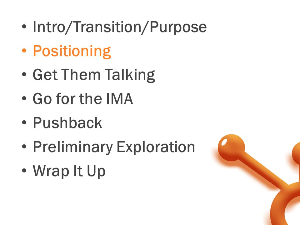 Intro/Transition/Purpose Positioning Get Them Talking Go for the IMA Pushback Preliminary Exploration Wrap It Up