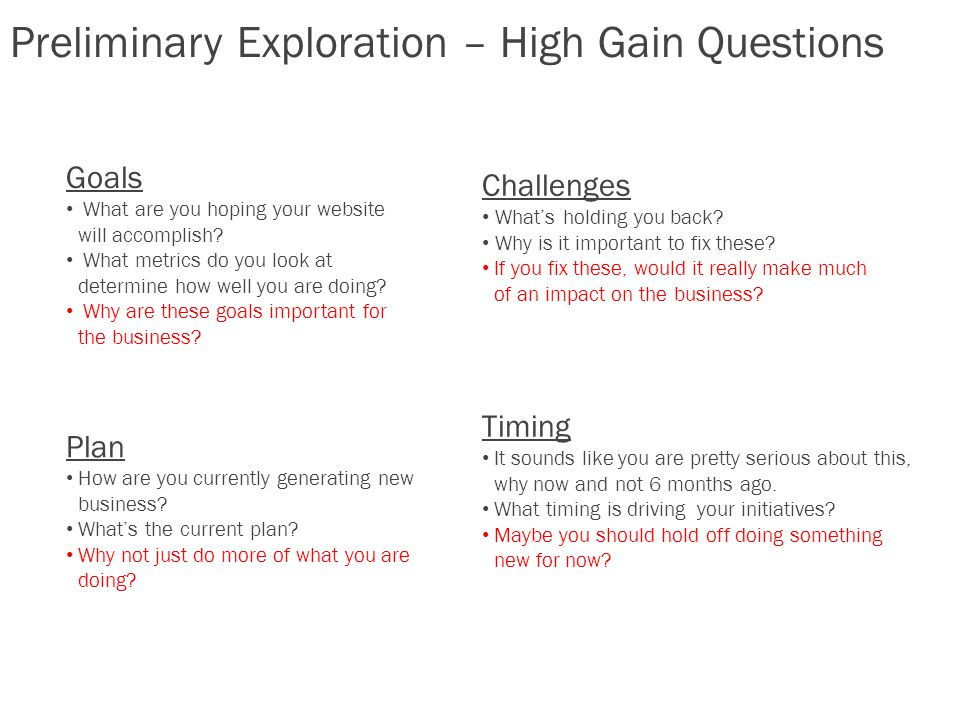 Preliminary Exploration – High Gain Questions Goals What are you hoping your website will accomplish.