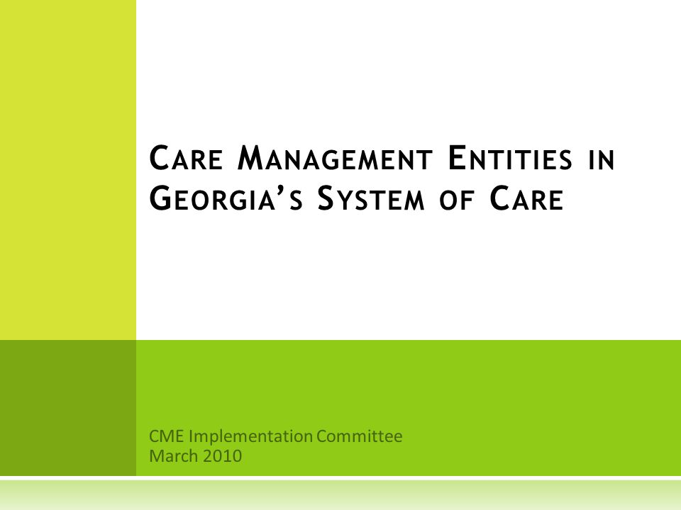 CME Implementation Committee March 2010 C ARE M ANAGEMENT E NTITIES IN G EORGIA ' S S YSTEM OF C ARE