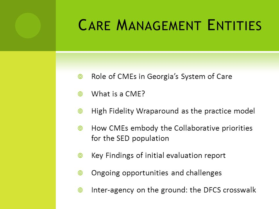 C ARE M ANAGEMENT E NTITIES  Role of CMEs in Georgia's System of Care  What is a CME.