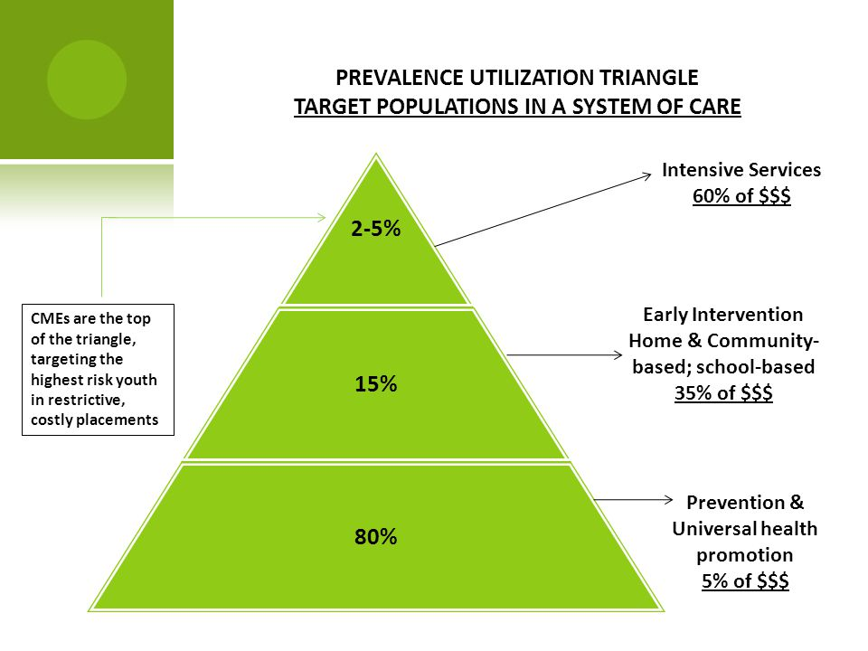 PREVALENCE UTILIZATION TRIANGLE TARGET POPULATIONS IN A SYSTEM OF CARE Intensive Services 60% of $$$ Early Intervention Home & Community- based; school-based 35% of $$$ Prevention & Universal health promotion 5% of $$$ CMEs are the top of the triangle, targeting the highest risk youth in restrictive, costly placements 2-5% 15% 80%