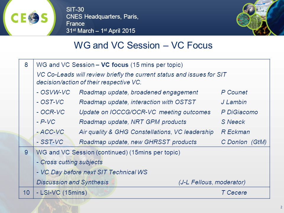 SIT-30 CNES Headquarters, Paris, France 31 st March – 1 st April 2015 2 8WG and VC Session – VC focus (15 mins per topic) VC Co-Leads will review briefly the current status and issues for SIT decision/action of their respective VC.