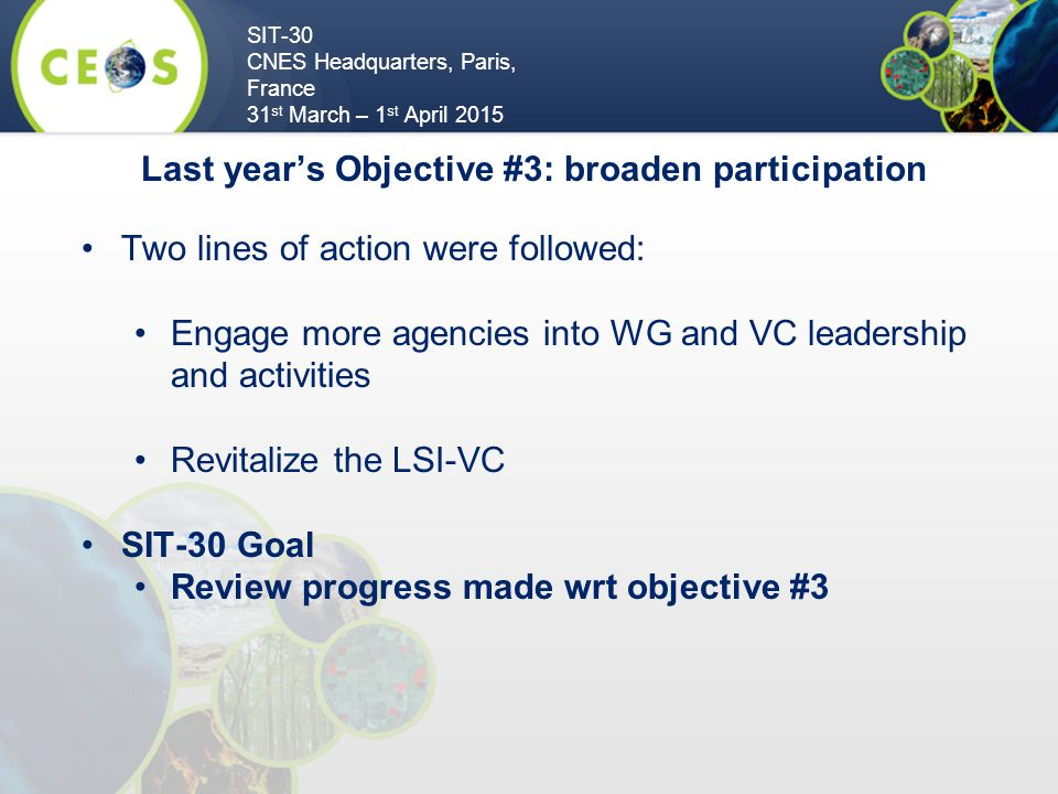 SIT-30 CNES Headquarters, Paris, France 31 st March – 1 st April 2015 Two lines of action were followed: Engage more agencies into WG and VC leadership and activities Revitalize the LSI-VC SIT-30 Goal Review progress made wrt objective #3 Last year's Objective #3: broaden participation