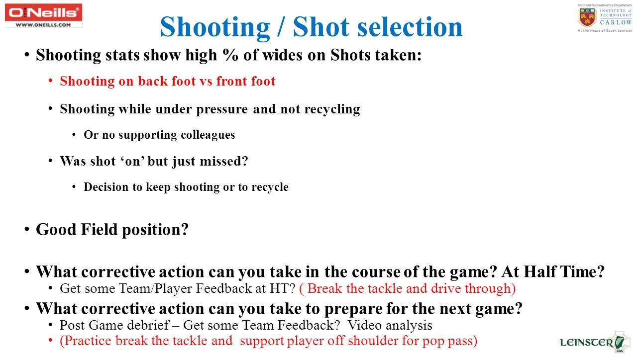 Shooting / Shot selection Shooting stats show high % of wides on Shots taken: Shooting on back foot vs front foot Shooting while under pressure and not recycling Or no supporting colleagues Was shot 'on' but just missed.