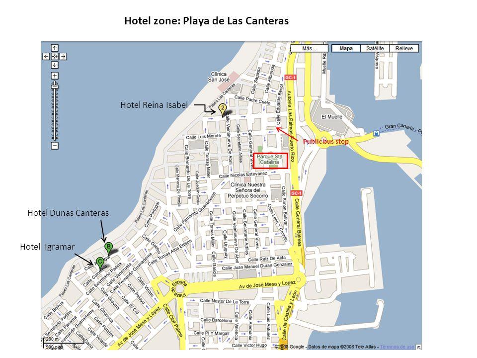 Hotel zone: Playa de Las Canteras Hotel Reina Isabel Hotel Igramar Hotel Dunas Canteras Public bus stop
