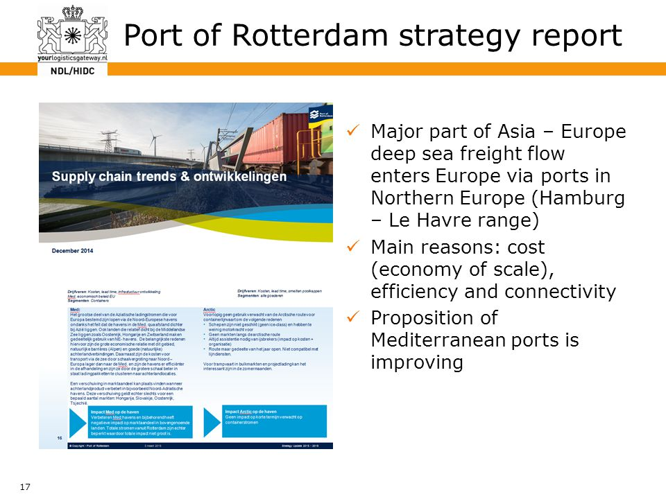 17 Major part of Asia – Europe deep sea freight flow enters Europe via ports in Northern Europe (Hamburg – Le Havre range) Main reasons: cost (economy of scale), efficiency and connectivity Proposition of Mediterranean ports is improving Port of Rotterdam strategy report