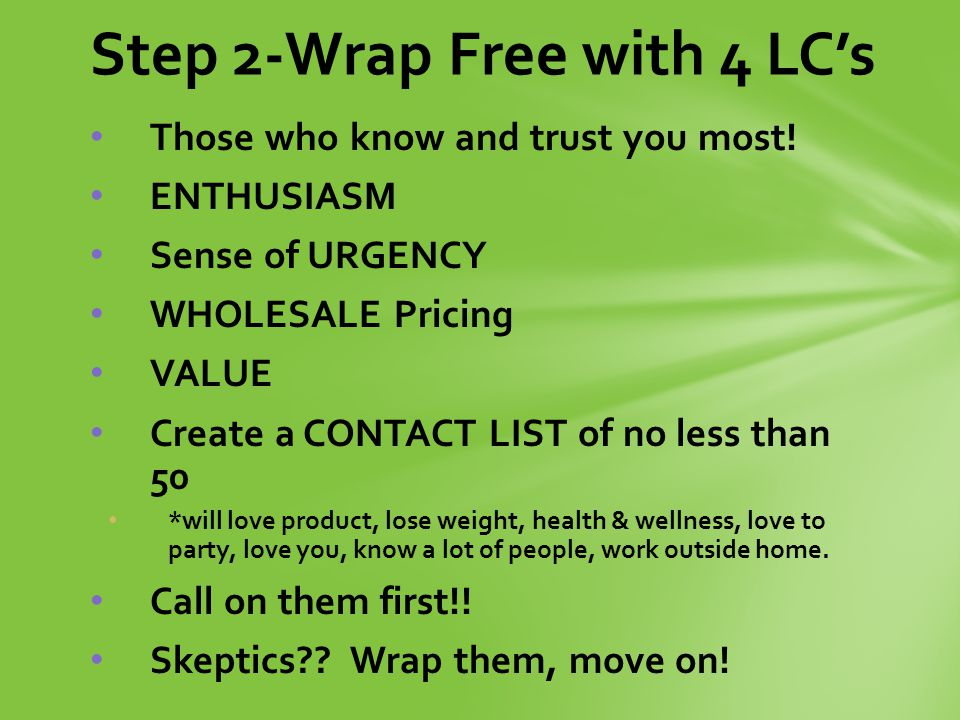 Step 2-Wrap Free with 4 LC's Those who know and trust you most.