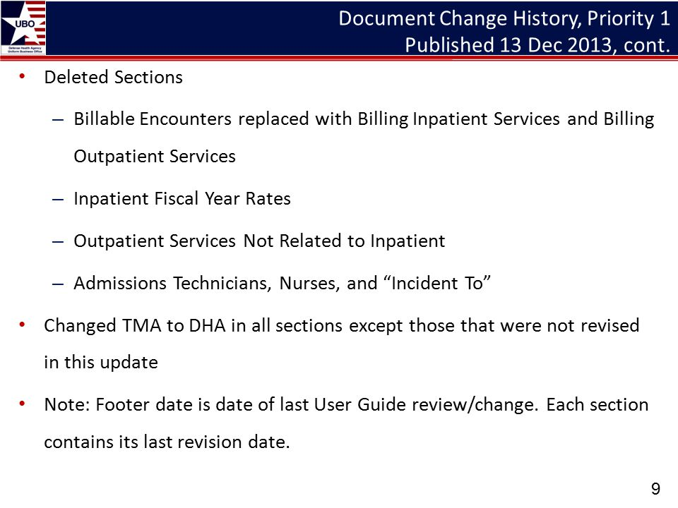 Third Party Collection Program Report on Program Results (DD Form 2570 and UBO Metrics Report) (Revised) Menu paths for DD 2570 data fields – TPOCS menu path for outpatient billing and collection data – CHCS menu path for inpatient Non Active Duty (NAD) data Added menu paths for NAD outpatient visits data from the CHCS Workload Assignment Module (WAM) and the MHS Management and Analysis Reporting Tool (M2) Archived DHA UBO training webinar available on demand at http://www.tricare.mil/ocfo/mcfs/ubo/learning_center/training.cfm http://www.tricare.mil/ocfo/mcfs/ubo/learning_center/training.cfm 20