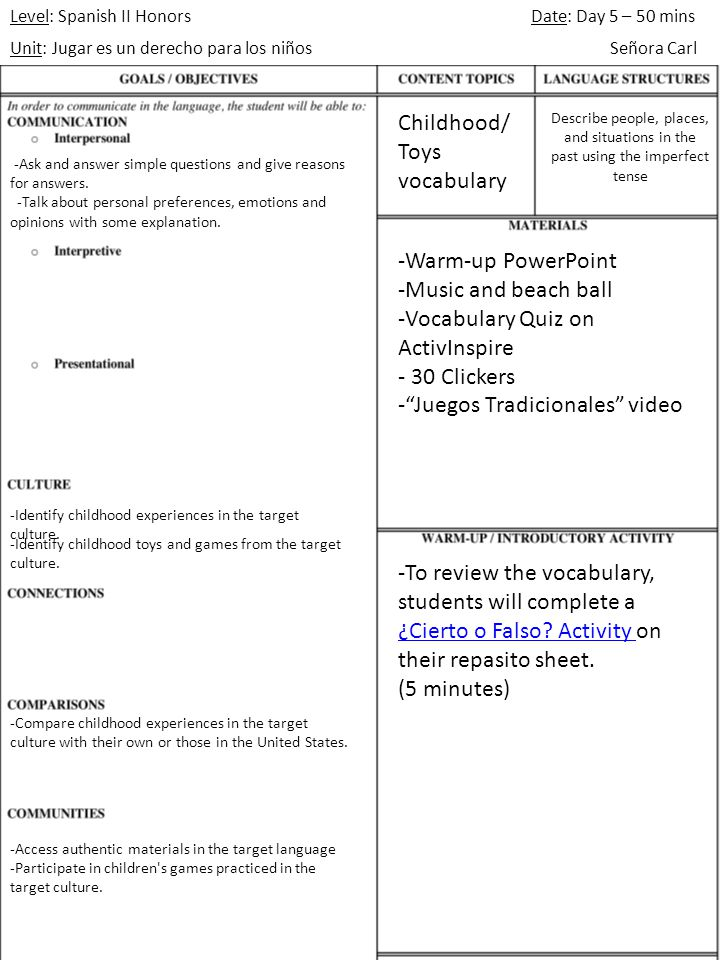 Level: Spanish II Honors Unit: Jugar es un derecho para los niños Date: Day 5 Señora Carl UDL Strategies Multiple Means of Representation _X___ Visuals, diagrams, & charts ____ Color-coding _X__ Formatting variations ____ Highlighting ____ Concept Attainment ____ Metaphors ____ Checklists _X__ Video/Audio Clips Multiple Means of Expressions ____ Manipulatives _X__ Technology ____ Sentence starters & cloze paragraphs ____ Organizers ____ Illustrations ____ Role-play _X__ Think alouds Multiple Means of Engagement _X___ Music & movement _X___ Games & puzzles _X___ Student choice ____ Personalized questions ____ Cooperative learning groups ____ Rubrics ____ Prompts, reminders, & guides 1.To review the vocabulary before the quiz, together as a class we will play Papa Caliente (Hot Potato).