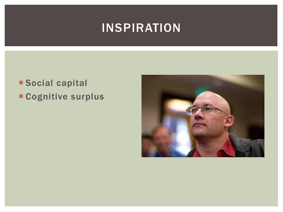  Social capital  Cognitive surplus INSPIRATION