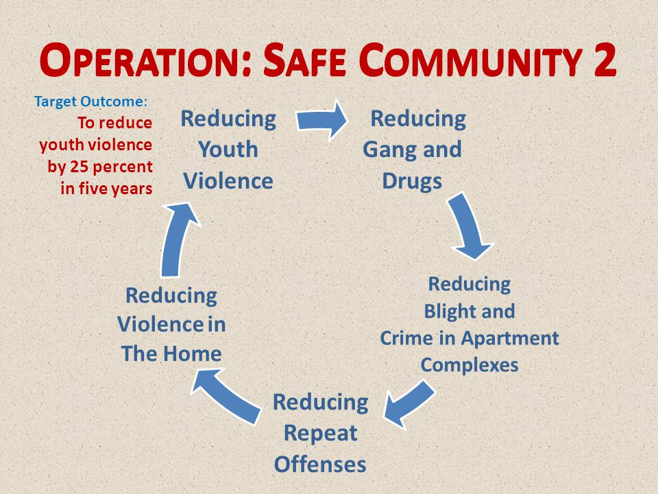 Reducing Gang and Drugs Reducing Blight and Crime in Apartment Complexes Reducing Repeat Offenses Reducing Violence in The Home Reducing Youth Violence O PERATION : S AFE C OMMUNITY 2 Target Outcome: To reduce youth violence by 25 percent in five years