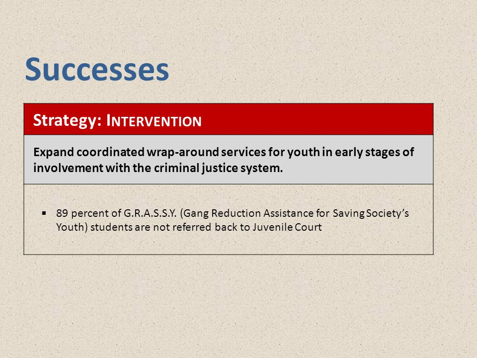 Strategy: I NTERVENTION Expand coordinated wrap-around services for youth in early stages of involvement with the criminal justice system.