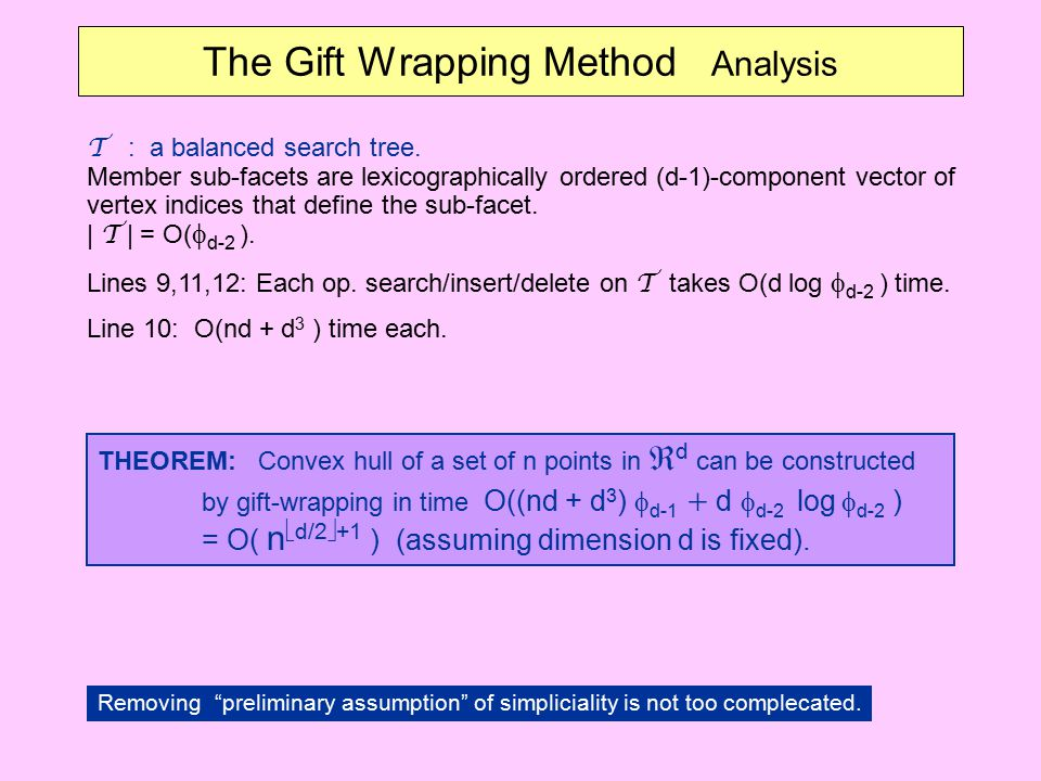 The Gift Wrapping Method Analysis T : a balanced search tree. Member sub-facets are lexicographically ordered (d-1)-component vector of vertex indices