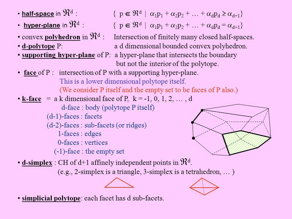 Randomized Incremental 3D CH Algorithm Input: P = { p 1, p 2, …, p n }   3 Output: CH(P) 1.