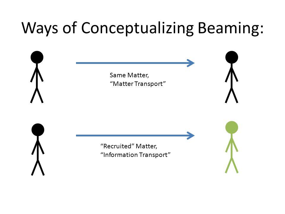"Ways of Conceptualizing Beaming: Same Matter, ""Matter Transport"" ""Recruited"" Matter, ""Information Transport"""