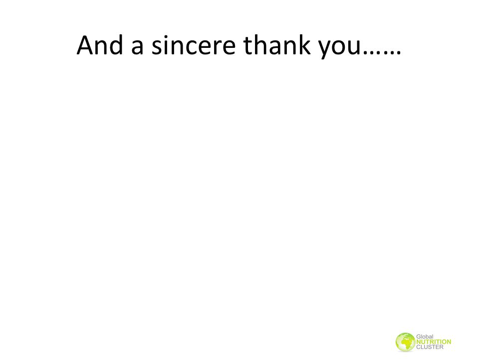 And a sincere thank you……