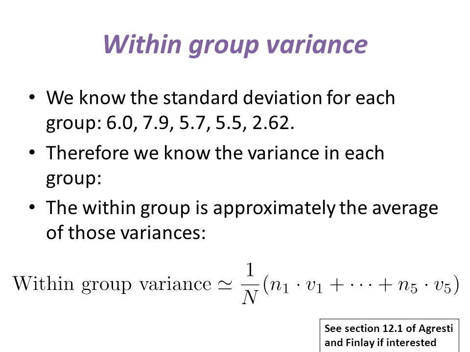 Within group variance We know the standard deviation for each group: 6.0, 7.9, 5.7, 5.5, 2.62. Therefore we know the variance in each group: The withi