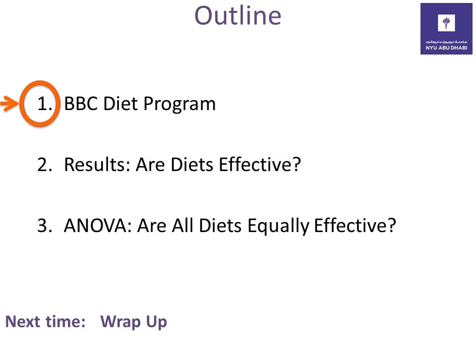 Outline 1.BBC Diet Program 2.Results: Are Diets Effective.