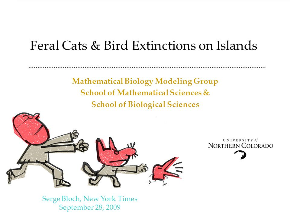 Feral Cats & Bird Extinctions on Islands Mathematical Biology Modeling Group School of Mathematical Sciences & School of Biological Sciences Serge Bloch, New York Times September 28, 2009 J.
