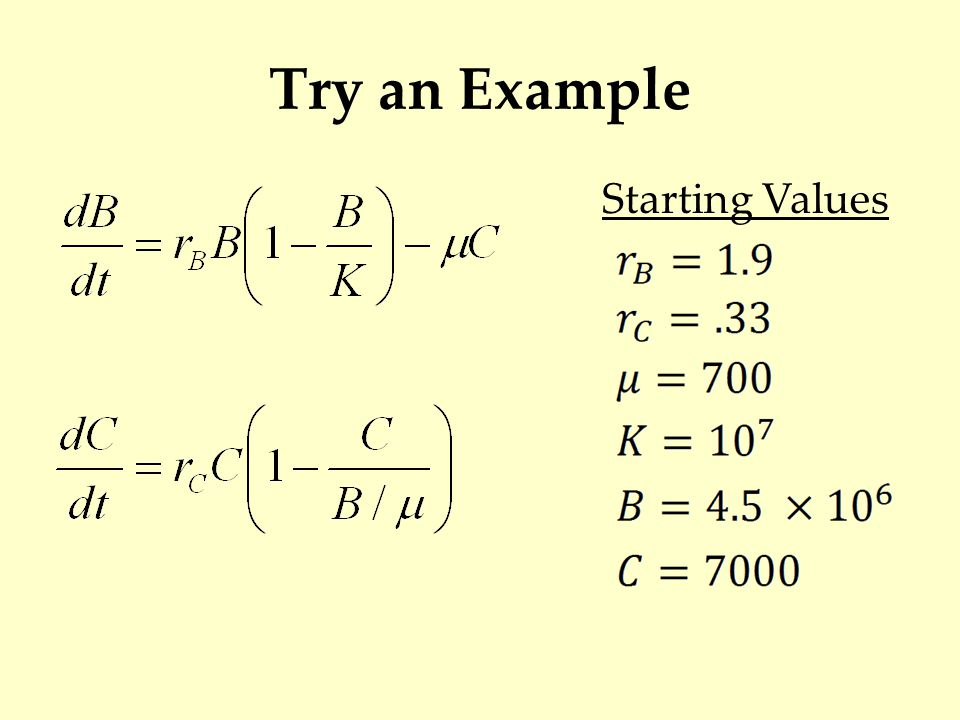 Try an Example Starting Values