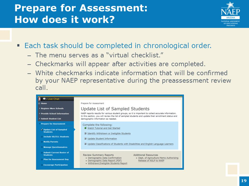 Prepare for Assessment: How does it work.  Each task should be completed in chronological order.