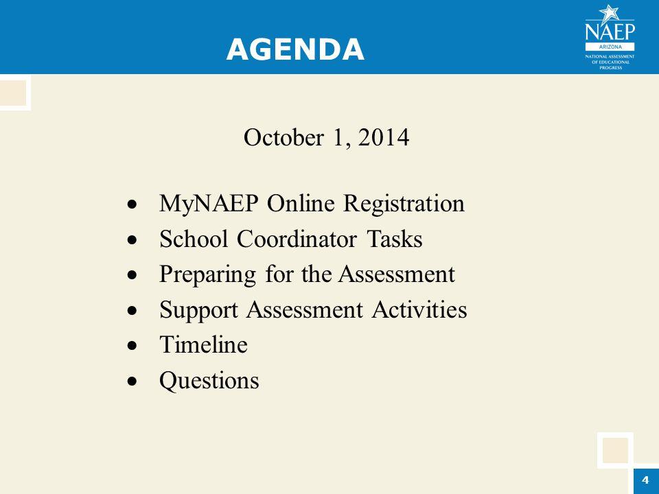 AGENDA October 1, 2014  MyNAEP Online Registration  School Coordinator Tasks  Preparing for the Assessment  Support Assessment Activities  Timeline  Questions 4
