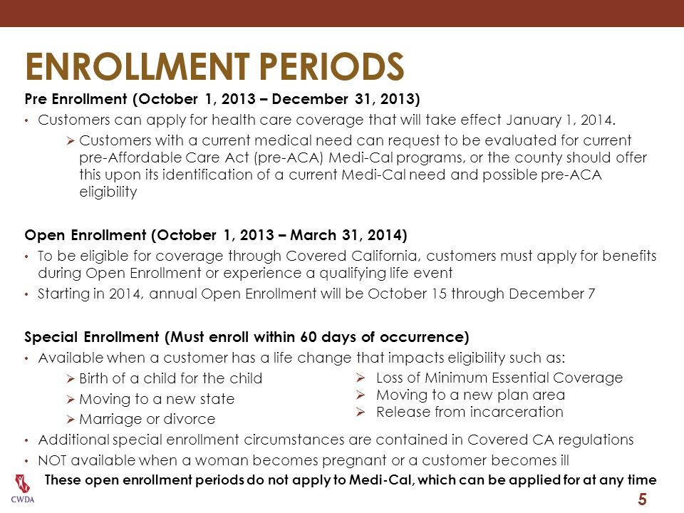INTERIM PERIOD OCTOBER TO DECEMBER 2013 During this period, both the pre-ACA Medi-Cal rules and the new, MAGI-based rules will be available to use.